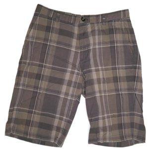 Calvin Klein Mens Gray Plaid Shorts Sz 30 Flat